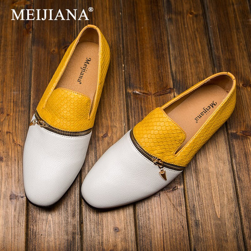 MEIJIANA Men's Casual Shoes Brand Hiking Breathable Footwear 2019 Urban Italian Designer Zipper Flat Shoes Men's shoes