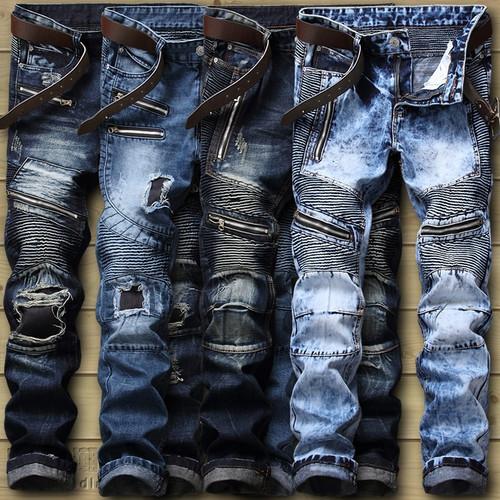 Biker Jeans Men's Distressed Stretch Ripped Biker Jeans Men Hip Hop Slim Fit Holes Punk Denim Jeans Cotton Pants