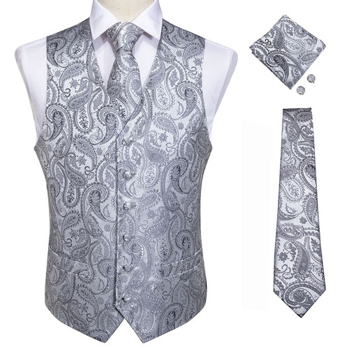 DiBanGu Top 9 styles Vest for Men Silver Red Orange Blue Men's Vest Suit Business Wedding Party Occasion Hanky Cufflinks Vests