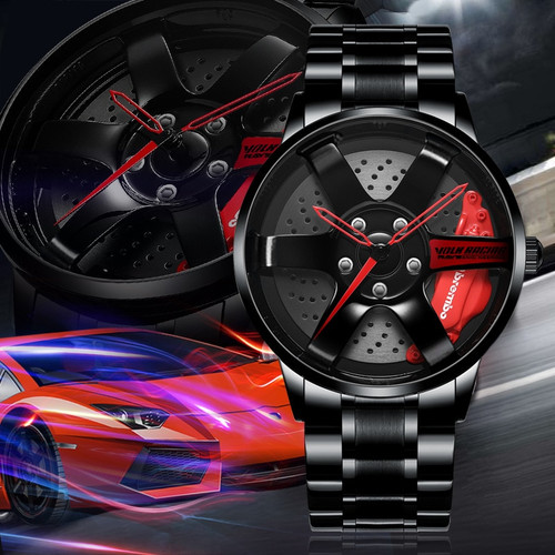 2020 New te37 wheel business watch stereo hollow forging car modification culture concept personality fashion men's sports watch