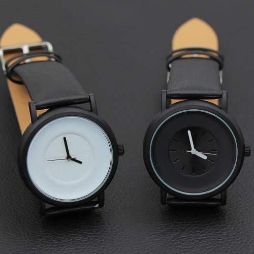 Hot Fashion Creative Wrist Watches Women Men Quartz-watch Brand Unique Dial Design Lovers' Watch Leather Wristwatches Clock