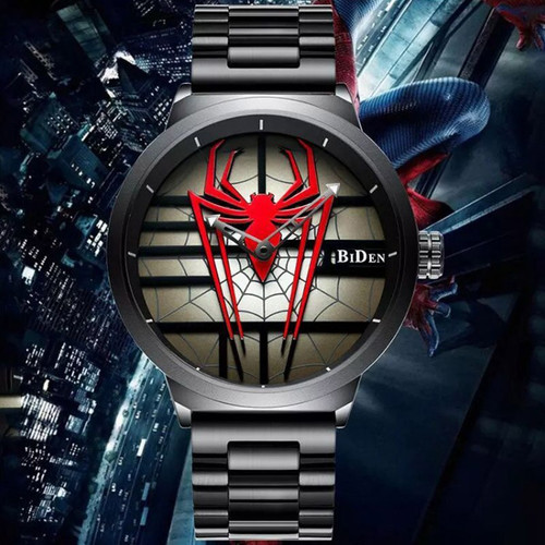 2020 New BIDEN Fashion Men's Watch Men's Personality Spider-Man Watch Steel Band Waterproof Quartz Watch Relogio Masculino