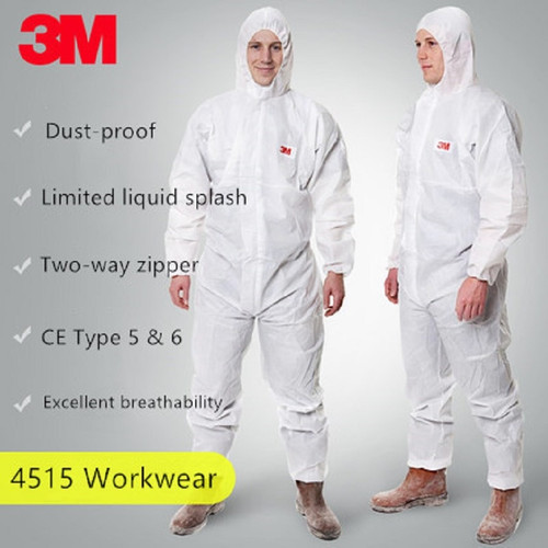 3M 4515 Disposable Protective Hooded Boiler Suit CE Type 5/6 Dust-proof Work Safety Coveralls Chemical liquid Paint Workwear