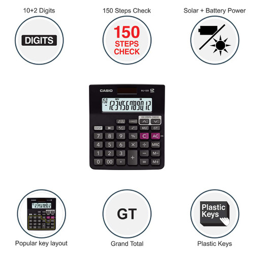 Casio MJ-12D 150 Steps Check and Correct Desktop Calculator
