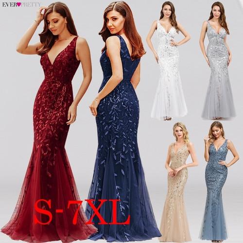 Burgundy Evening Dresses Ever Pretty EP07886 V-Neck Mermaid Sequined Formal Dresses Women Elegant Party Gowns Lange Jurk 2020