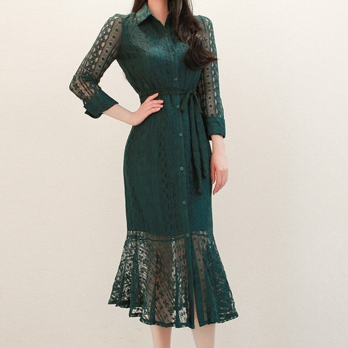 Chic Lace Fishtail Dress Elegant Button Long Sleeve Midi Shirt Dress Women Tunic Ruffles Spliced Sexy Party White Green Vestidos