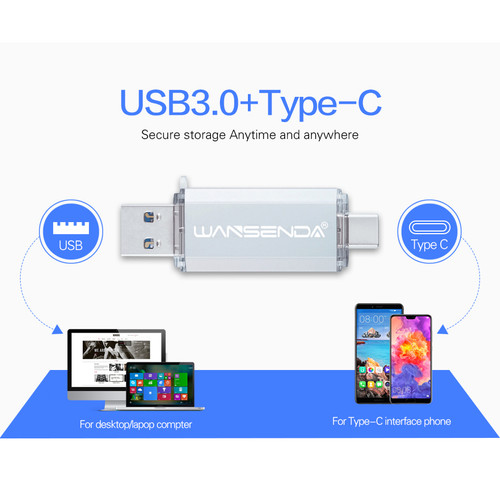 Hotsale WANSENDA OTG USB Flash Drive Type C Pen Drive 512GB 256GB 128GB 64GB 32GB 16GB USB Stick 3.0 Pendrive for Type-C Device