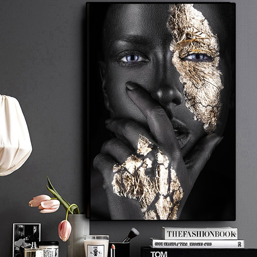 African Art Black and Gold Woman Oil Painting on Canvas Cuadros Posters and Prints Scandinavian Wall Art Picture for Living Room