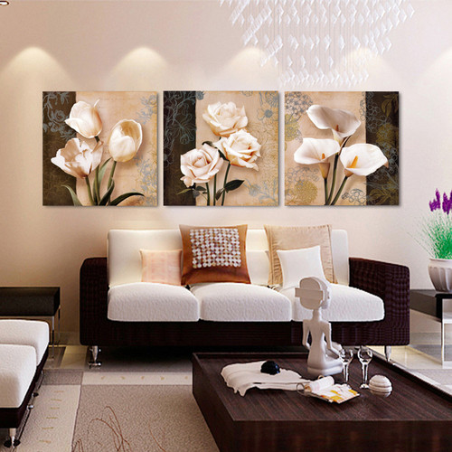 Canvas HD Prints Poster Wall Art Pictures 3 Pieces Abstract Tulip Flowers Paintings Modular Home Decor For Living Room Framework