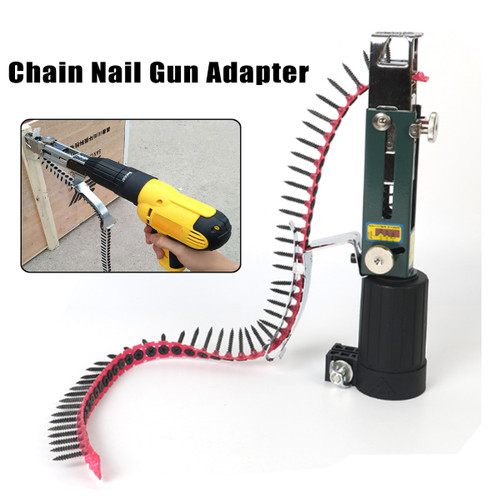 1PC Automatic New Automatic Chain Nail Gun Adapter Screw Gun for Electric Drill Woodworking Tool Cordless Power Drill Attachment