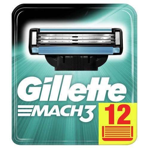 Replaceable Razor Blades for Men Gillette Mach 3 Blade Shaving 12 Pcs Cassettes Shaving Mak3 Shaving Cartridge Mach3
