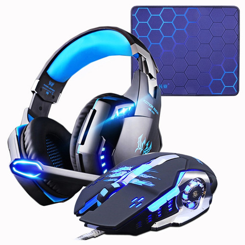 Gaming Headset Headphones +Wired Gaming Mouse Mice 4000DPI Bass stereo Gamer Earphone+Gaming Mouse pad Combination For Laptop PC