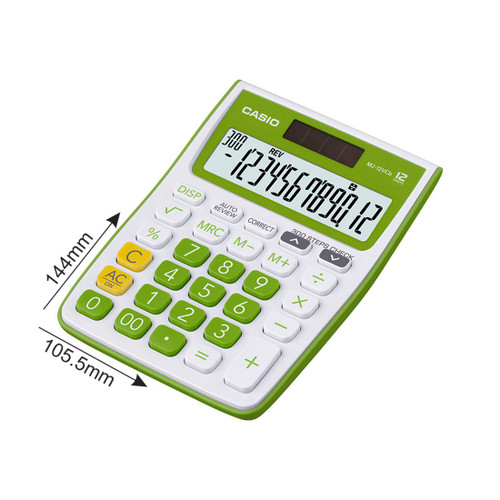 Casio MJ-12VCb-GN 300 Steps Check & Correct Colourful Desktop Calculator