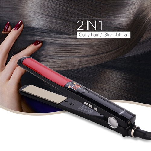 2in1 LCD Digital Hair Straightener Curler Ceramic Floating Plates Flat Iron Straightening Curling Iron Professional Styling Tool