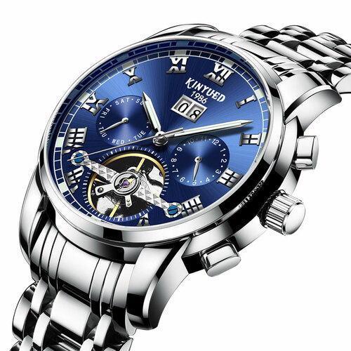 KINYUED Blue tourbillon steel watch male automatic mechanical watch multi-function calendar watches men waterproof clock Hollow