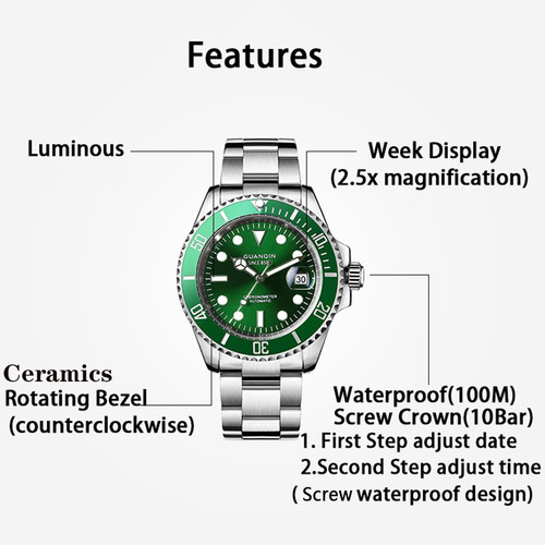 GUANQIN 2020 Japan Movement Automatic Diving Watch Waterproof Men Mechanical Watch Top Brand Ceramics Sapphire Relogio Masculino