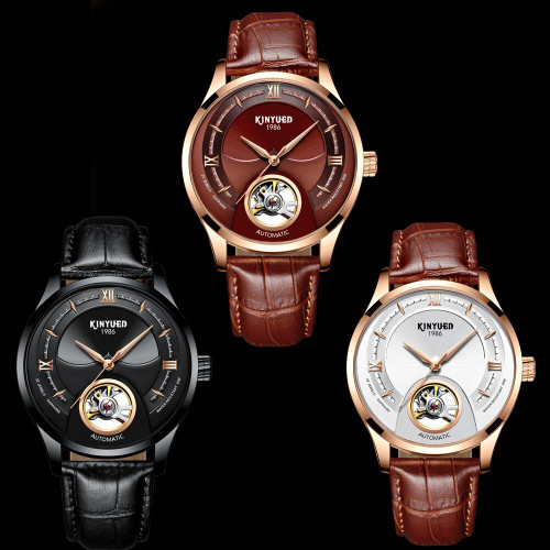 KINYUED Skeleton Mechanical Tourbillon Men Watch Waterproof Leather Original Brand Luxury Fashions Sports relogio masculino