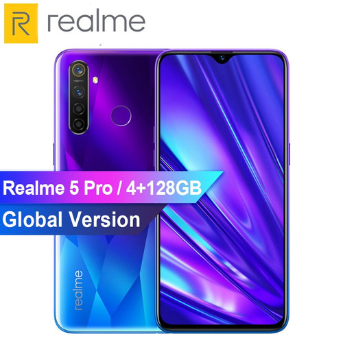 "8GB RAM 128GB ROM Realme 5 Pro Mobile Phone 6.3"" Smartphone 48MP Quad Camera Cellphones 4035mAh Battery 20W VOOC Fast Charger"