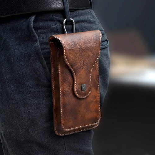 Multi-Function Leather Mobile Phone Waist Bag Holster Belt Clip Case with 2 Pocket