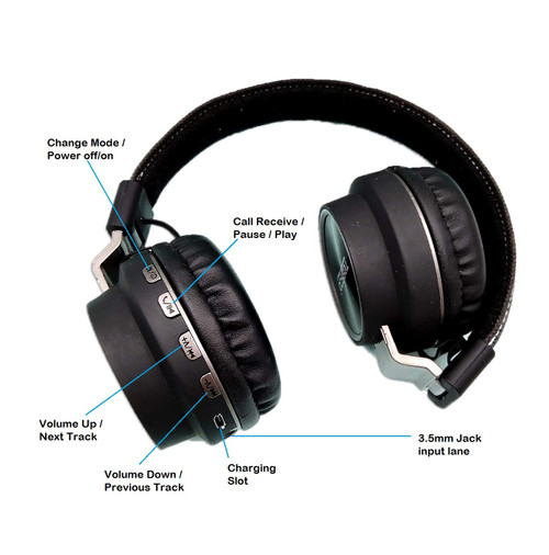 Tessco Wireless Wired Stereo Headphone with High Sound Bass and Multi-Function Ear-Headphones