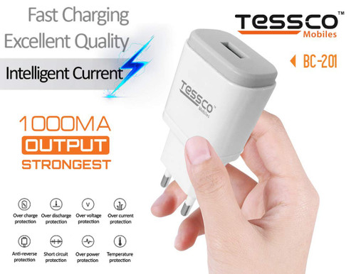 Tessco 1000mA Powerful USB Travel Charger (BC-201) for Tablets, Mobiles, GPS, Bluetooth