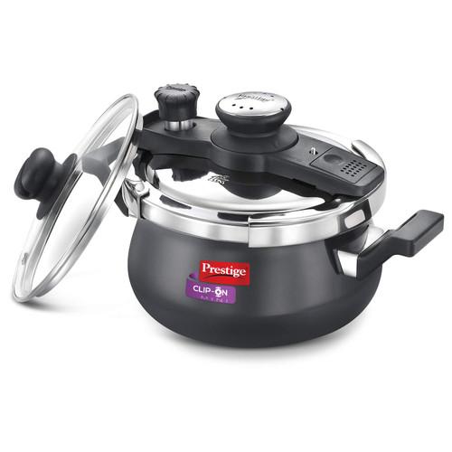 Prestige Clip-on Mini Hard Anodised Aluminium Pressure cooker, 3 Litre, Black
