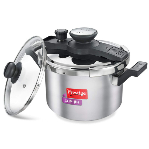 Prestige Clip On Stainless Steel Pressure Cooker with Glass Lid (5 Litres, Set of 2, Metallic Silver) (25645)