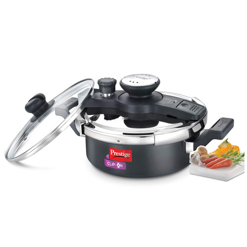 Prestige Clip On Aluminium Pressure Cooker with Glass Lid, 3 Litres, 2-Pieces, Charcoal Black