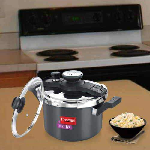 Prestige Clip On Aluminium Pressure Cooker with Glass Lid (5 Litres, 2-Pieces, Charcoal Black)