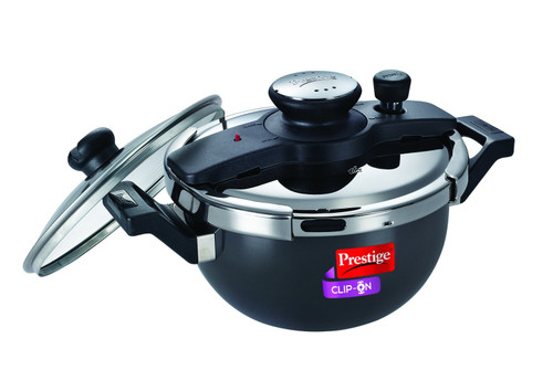 Prestige Clip On Hard Anodized Aluminium Kadai Pressure Cooker Set, 3.5 Litres, 2-Pieces, Charcoal Black