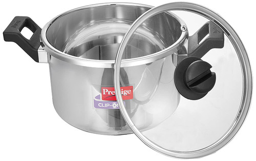 Prestige Clip On Stainless Steel Pressure Cookware, 5 Litres, Stainless Steel with Glass Lid