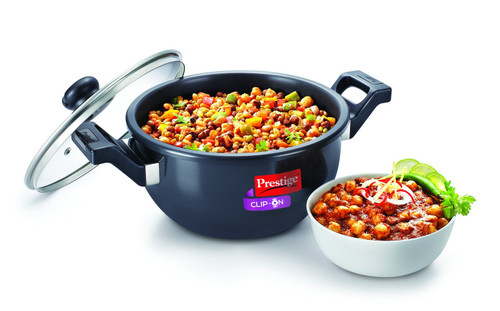 Prestige Clip On Hard Anodized Aluminum Kadai Pressure Cooker with Glass Lid Accessory, 2-Pieces, Charcoal Black