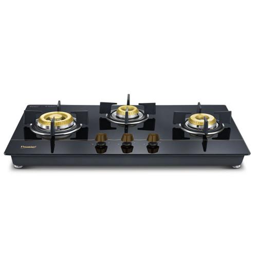 Prestige Schott Glass 3 Burner Gas Stove, Auto Ignition, Black