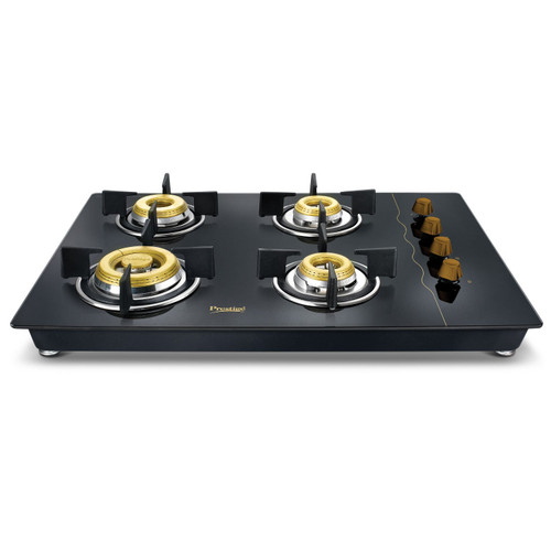 Prestige Glass Top 4 Burner Gas Stove, Manual Ignition, Black