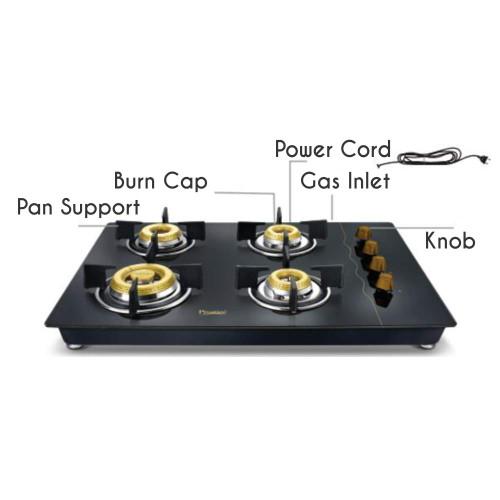 Prestige Glass Top 4 Burner Gas Stove, Manual Ignition, Black