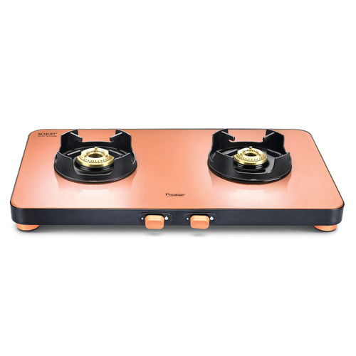 Prestige Edge Schott Glass 2 Burner Gas Stove, Manual Ignition, Pastel