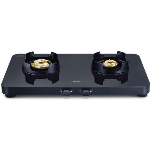 Prestige Edge Schott Glass 2 Burner Gas Stove, Black