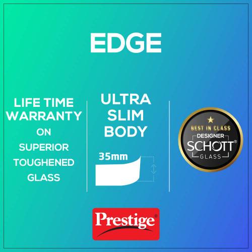 Prestige Edge Schott Glass 4 Burner Gas Stove, Manual Ignition, Black