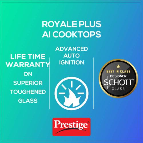 Prestige Royale Plus Schott Glass 4 Burner Gas Stove, Auto Ignition, Black