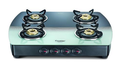 Prestige Premia Schott Glass 4 Burner Gas Stove, Manual Ignition, Multi-color