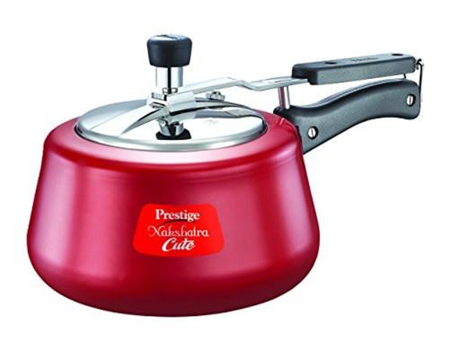Prestige Nakshatra Cute Aluminium Pressure Cooker, 5 Litres, Red
