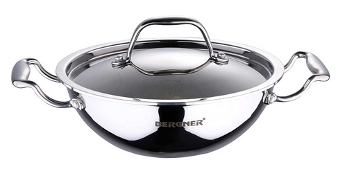 Bergner Argent Triply Stainless Steel Kadhai with Stainless Steel Lid, 32 cm, 5.8 Liters, Induction Base, Silver