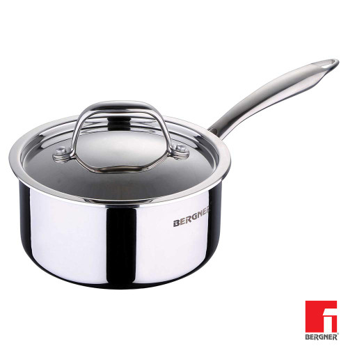 Bergner Argent SS Triply Saucepan with Lid,16 cm,1.6 litres.
