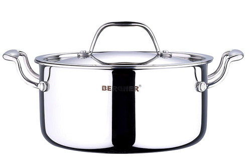 Bergner Argent Triply Stainless Steel Casserole with Stainless Steel Lid 20 cm 3.1 Liters Induction Base Silver