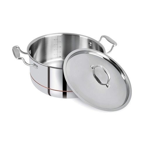 Bergner Argent 5CX 5 Ply Stainless Steel Casserole with Stainless Steel Lid 24 cm 5.3 Liters Sliver