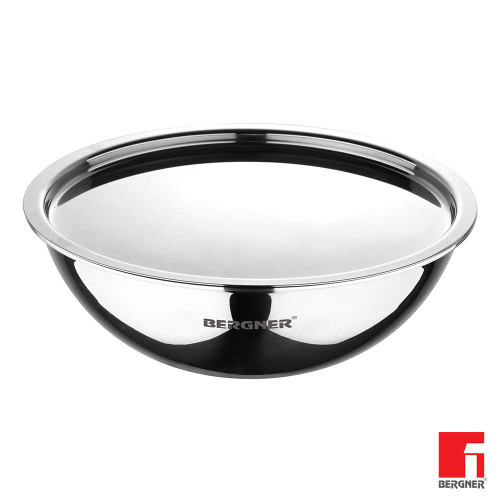 Bergner Argent Triply Stainless Steel Tasra with Stainless Steel Lid, 22 cm, 1.6 Liters. Induction Base, Silver.