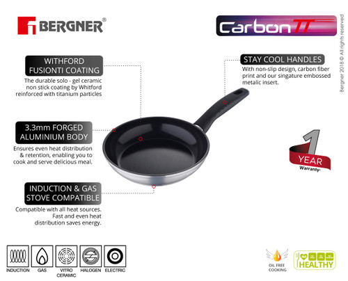 Bergner Carbon TT Forged Aluminium Non-Stick Frypan 24 cm Induction Base Metallic Grey