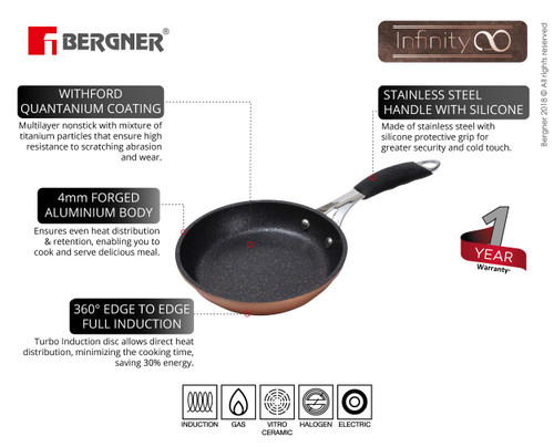Bergner Infinity Chefs Forged Aluminium Non-Stick Fry-pan 24 cm Induction Base Copper