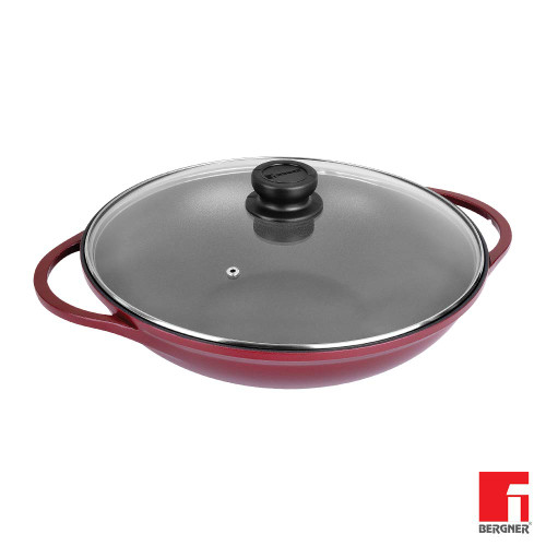Bergner Scarlett Die Cast Aluminium Non-Stick Kadhai with Glass Lid 32 cm 4.8 Liters Induction Base Maroon