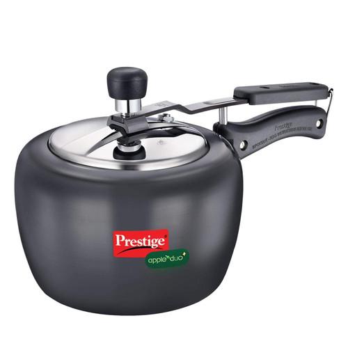 Prestige Apple Due Plus Induction Base Pressure Cooker, 2 Litters, Black